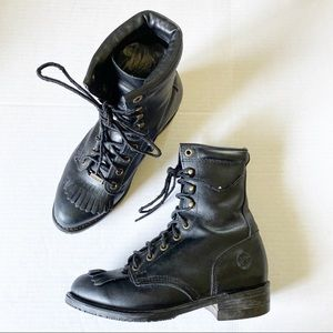 Double H Black Leather Lacer Lace Up Combat Boots